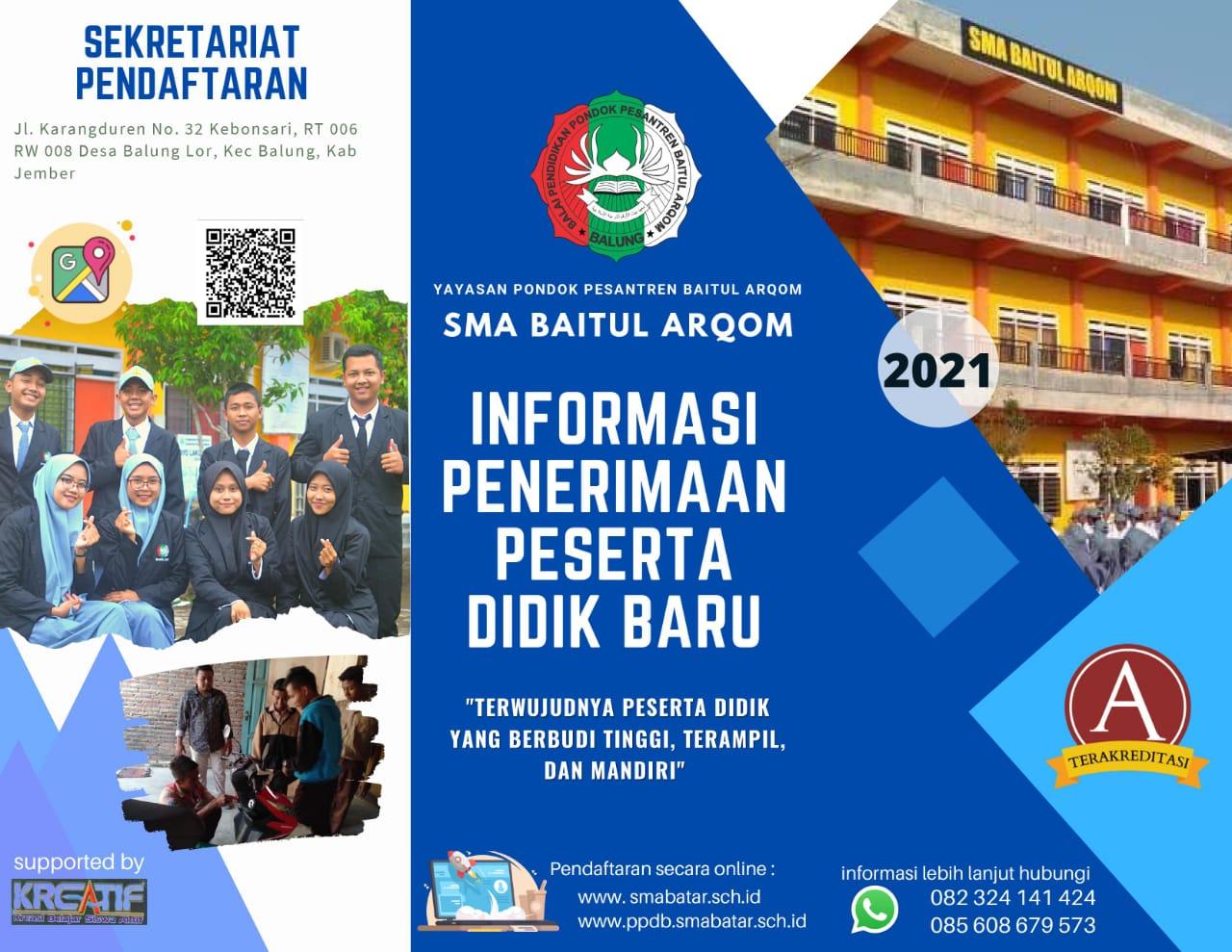 Penerimaan Peserta Didik Baru SMA Baitul Arqom  Tahun Pelajaran 2021-2022