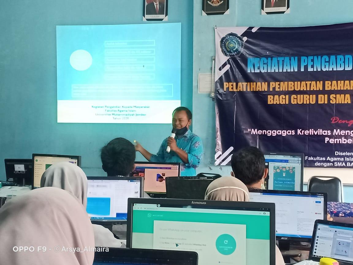 Pelatihan Pembuatan Bahan Ajar Handout Berbasis Canva bagi Guru SMA Baitul Arqom